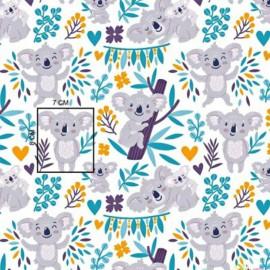 Coton OEKO TEX Koala gris feuille moutarde et turquoise fond blanc en 160cm
