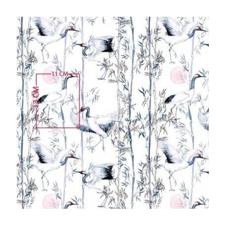 Coton OEKO TEX Grue du Japon gris rose en 160cm