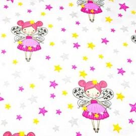 Coton OEKO TEX grande fée rose étoiles fond blanc en 160cm
