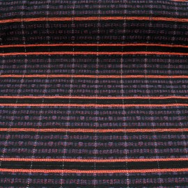 Au mètre natté fond noir tissage rayé orange, bleu avec fil métallisé en 155cm n°10523