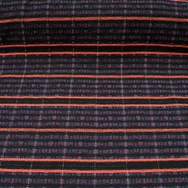 Au mètre natté fond noir tissage rayé orange, bleu avec fil métallisé en 155cm n°10523Catalogue Produits Visualiser