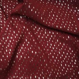Voile polyester bordeaux avec goutte or en 150cm n°10525