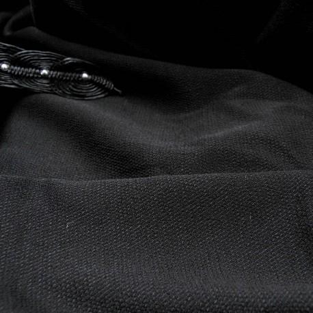 Au mètre Crêpe polyester noir strié en 130cm n°10531