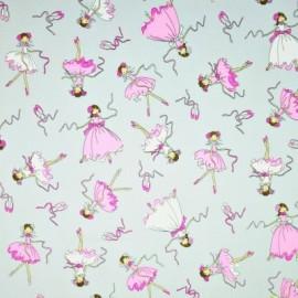 Coton OEKO TEX danseuse rose fond gris en 160cm