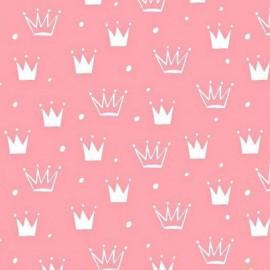 Coton OEKO TEX couronne blanche fond rose en 160cm