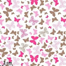 Coton OEKO TEX papillon taupe et fushia fond blanc en 160cm
