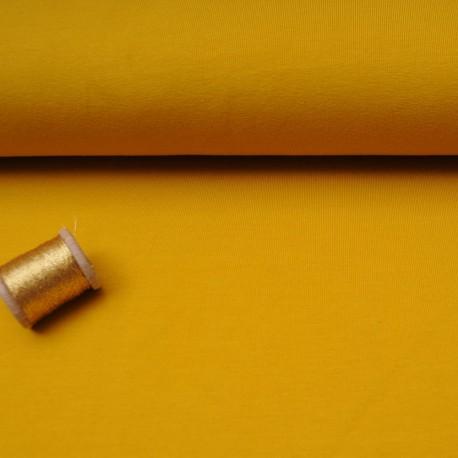 Au mètre Jersey Stof Avalana uni moutarde en 160cm OEKOTEX