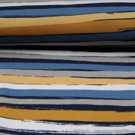 Au mètre Jersey Stof Avalana rayé bleu moutarde en 160cm OEKOTEX