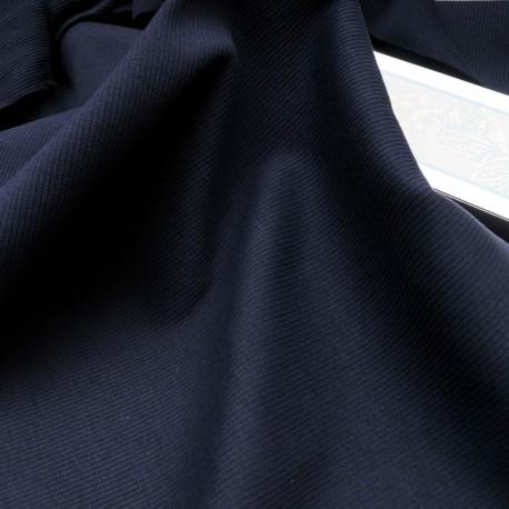 Au mètre, maille coton bord côte bleu marine en 120cm n°10545