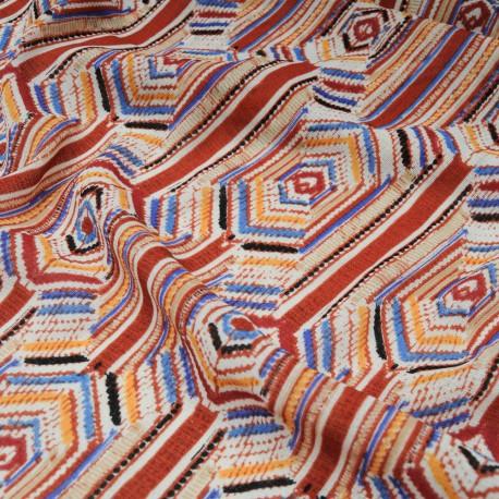Coupon voile polyester marron glacé ethnique 1m35 en 150cm n°10550