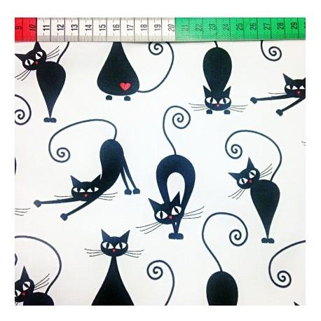Coton OEKO TEX Chat noir et rouge fond blanc en 160cm