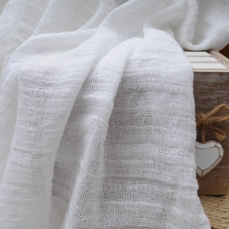 Coton et polyester type Seersucker blanc ajouré n°369