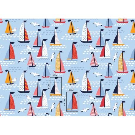 Coton OEKO TEX voiliers fond bleu ciel en 160cm