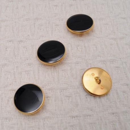 Bouton NOIR à queue en métal doré 18mm