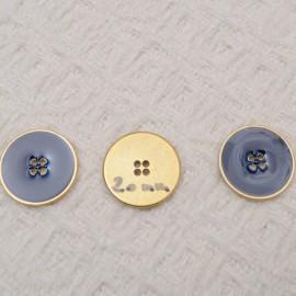 Bouton bleu MARINE à coudre en métal doré 4 trous 20mm