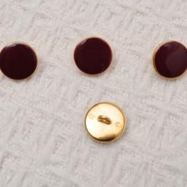 bouton Bordeaux à coudre à queue en métal doré 15mm