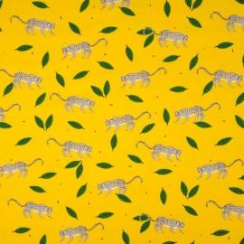 Au mètre Jersey Coton fond jaune guépard OEKOTEX en 145cm n°10514