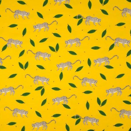 Au mètre Jersey Coton jersey-coton-fond-jaune-guepard-oekotex-en-145cm