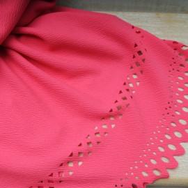 Coupon maille polyester crépon fuschia dentelé 1m80 en 150cm n°10563