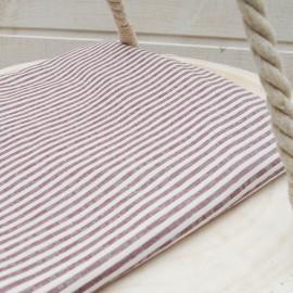 Au mètre popeline de coton fines rayures en bordeaux et blanc en 150cm n° 10564