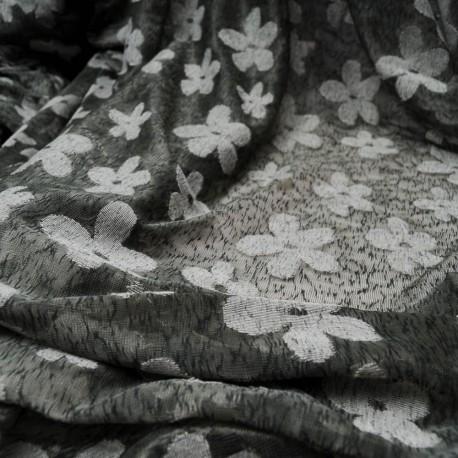 Au mètre voile kaki polyester et nylon à fleurettes en 160cm n°10435