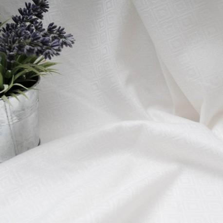 Au mètre Coton Polyester Spandex blanc à losanges damassé en 145cm n°10576