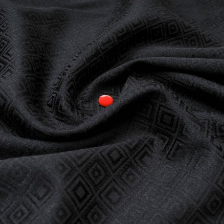 Au mètre Coton Polyester Spandex noir à losanges damassé en 145cm n°10575