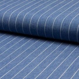Tissu 100% Coton jean chambray rayé bleu délavé en 140cm n°10375