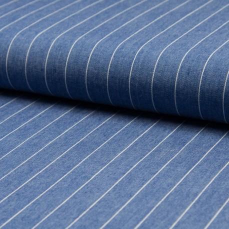 Tissu jean chambray rayé 100% Coton bleu délavé en 140cm n°10375