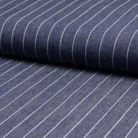 Tissu 100% Coton jean chambray rayé bleu moyen en 140cm n°10374