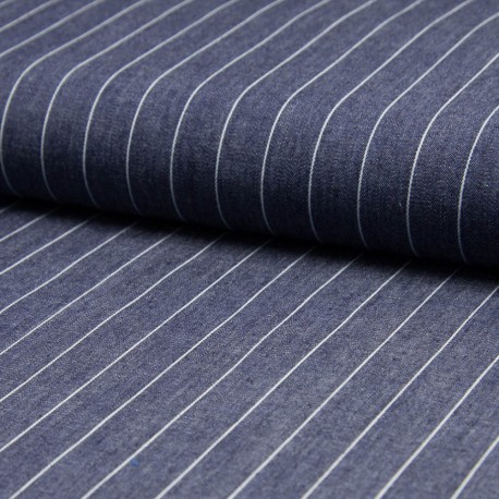 Tissu jean chambray rayé 100% Coton bleu moyen en 140cm n°10374