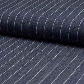 Tissu 100% Coton jean chambray rayé bleu foncé en 140cm n°10578