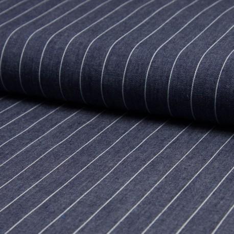 Tissu jean chambray rayé 100% Coton bleu foncé en 140cm n°10578