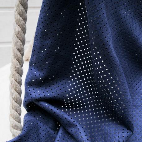 Suédine bleue perforée au mètre en 150cm n°10569