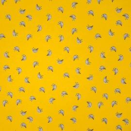 Au mètre Jersey Coton fond jaune banane OEKOTEX en 145cm n°10515
