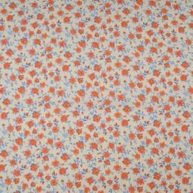 Au mètre popeline Coton fleurette orange en 145cm n°10578