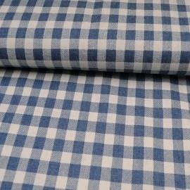 Au mètre popeline Coton Vichy bleu en 145cm n°10580
