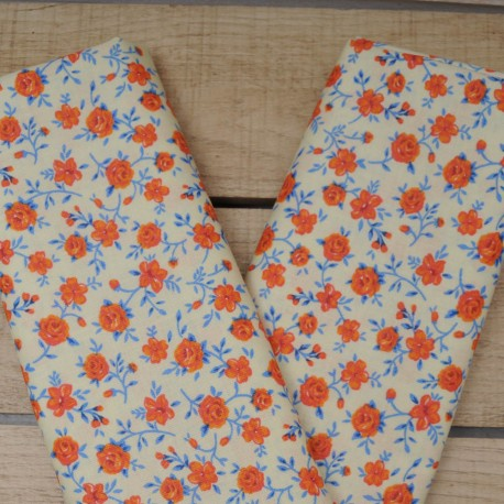Mini coupon toile coton 50x 72cm fleurette orange 10578