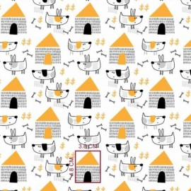 Coton OEKO TEX Chien jaune fond blanc en 160cm