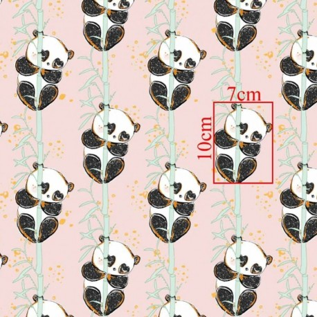 Coton OEKO TEX panda doré sur branche fond rose en 160cm