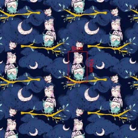 Coton OEKO TEX Chouette endormie fond bleu nuit en 160cm