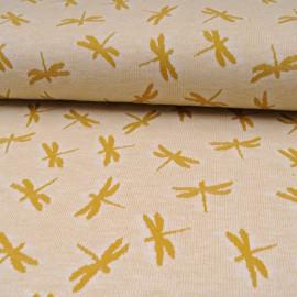 Au mètre maille Jacquard Coton et polyester Libellule moutarde en 155cm n°10587