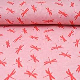 Au mètre maille Jacquard Coton et polyester Libellule rouge en 155cm n°10586