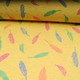 Tissu jersey jaune OEKOTEX au mètre motif feuille en 150cm n°10595