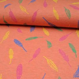 Tissu jersey corail OEKOTEX au mètre motif feuille en 150cm n°10593