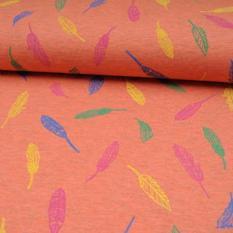 Tissu jersey corail au mètre motif feuille en 150cm n°10593