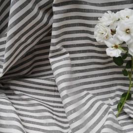 Au mètre tissu coton lin rayé blanc cassé gris à rayures Haut de gamme en n°10592