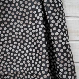 """Coupon Ameublement Toile Polyester """"Pois beiges"""" fond noir 60cm en 140cm"""