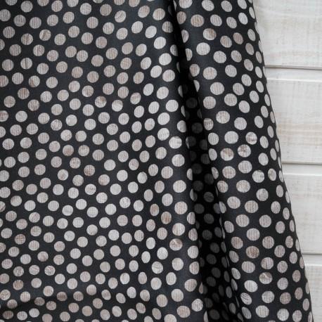 """Coupon Ameublement Toile Polyester """"Pois beiges"""" fond noir 85cm en 140cm"""