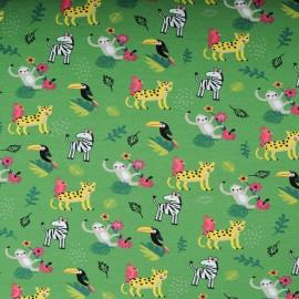 Jersey Coton Oekotex au mètre vert animaux jungle en 145cm n°10596
